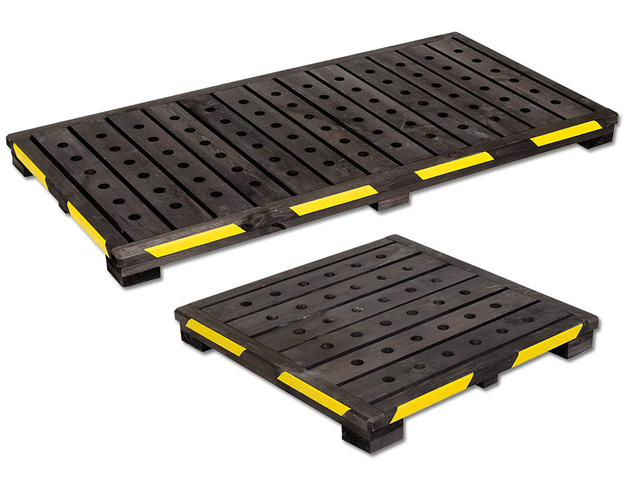 Antiskidding foot-boards WOOD-PAD – WP9.1 (75x75xh9cm) – WP9.2 (150x75xh9cm)
